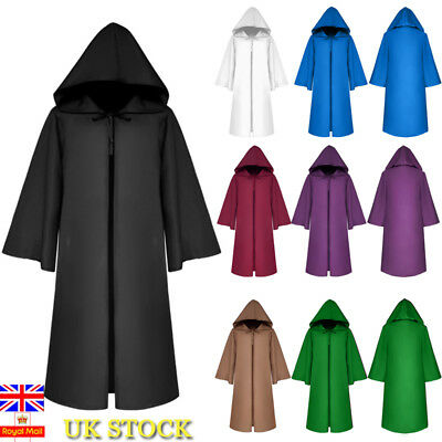 UK Halloween Death Devil Cosplay Costume Witch Long Cape Hooded Robe Cloak Prop