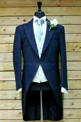 "Men's Boys Navy Blue Herringbone Tailcoat Wedding Formal Wear 22""- 50"" Xs-Xl"