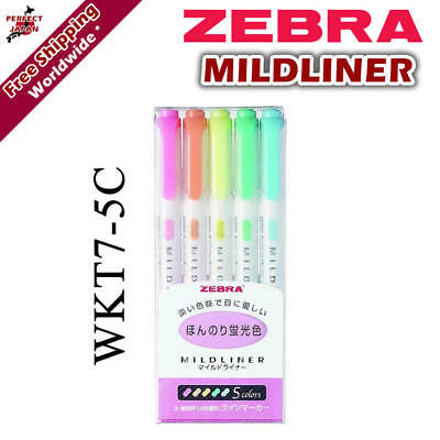 Zebra Mildliner WKT7-5C Soft Colour Pen Highlighter Marker 5 colour pens F/S