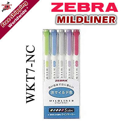 Zebra Mildliner WKT7-5C-NC Soft Colour Pen Highlighter Marker 5 colour pens F/S