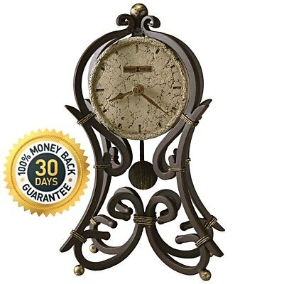 Howard Miller Mantel Clock Polystone Dial Caged Ornate Wrought Iron Antique Gold