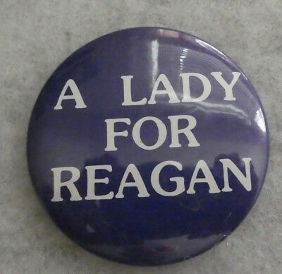 "Vintage 1980 ""a Lady For Reagan"" White On Blue Campaign Button"