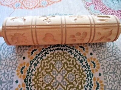 Carved Wood Springerle Cookie Rolling Pin Mold Press 16 Designs Birds Fish Fruit