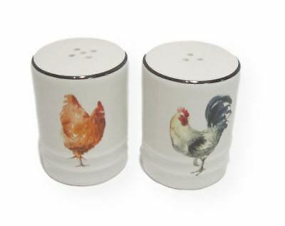 French Country Collectable Novelty Magnetic Rooster Chicken Salt and Pepper S...
