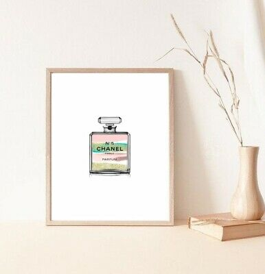 watercolour coco chanel perfume bottle print/poster