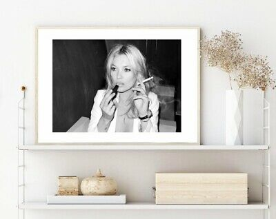 black and white Kate Moss smoking photography print/poster
