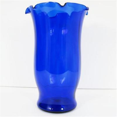 Dunbar Glass Corporation Cobalt Blue Spiral Optic Fluted Crimped 8in Vase c1930s