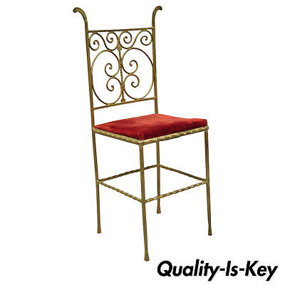 Antique Italian or Spanish Hollywood Regency Red & Gold Iron Gothic Side Chair