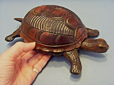 """ANTIQUE TREEN SWISS CARVED TORTOISE WITH A """"THORENS"""" MUSICAL BOX, c 1900-1910."""