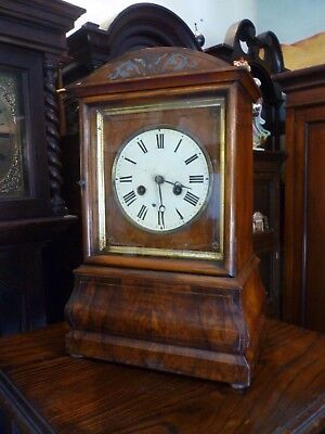 Unusual Antique Black Forest Walnut Bracket Clock In Good Working Order