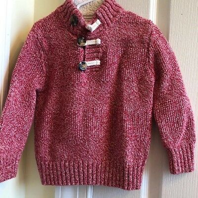 CAT & JACK  Size 3T Boys Long Sleeve Sweater- Red & White W/Lined Collar EUC