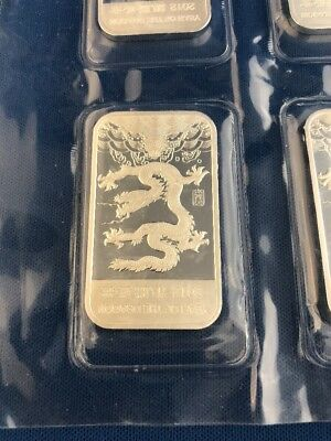 2012 APMEX Year Of The Dragon Uncirculated 1oz .999 Fine Solid Silver Bar