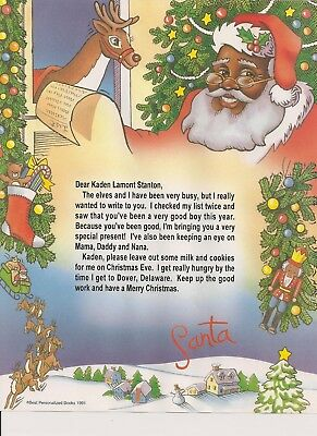 Black Santa Claus Personalized Letter From Santa Children and Adults