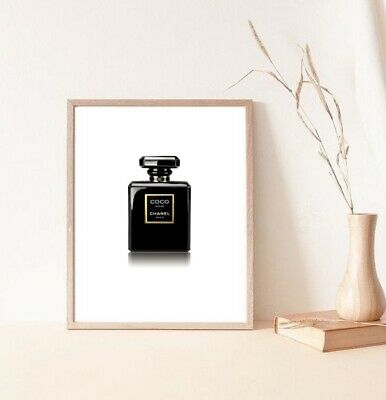 coco chanel black noir perfume bottle print/poster