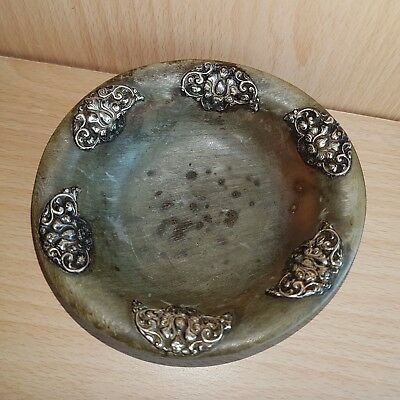 11# Old Rare Antique Chinese / Tibetan Horn Cup, Hand-Carved Vessel Bowl, Silver
