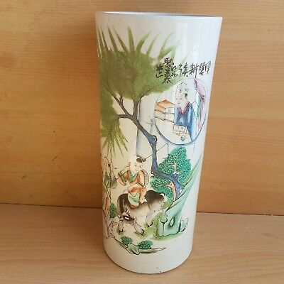 13# Old Rare Antique Chinese Porcelain Vase Hand Painted with Child, Signed