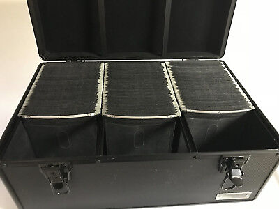 510 CD or DVD Black Aluminum Carry Case Media Storage Holder with Hanger Sleeves