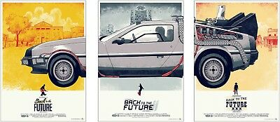 Back To The Future Delorean Vintage Movie Poster Set of 3 Prints