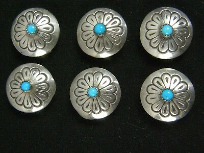 Set of 6 Sterling Top Turquoise Native American Concho Button Covers