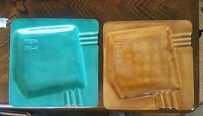 Pair of Vintage 1960's Square Ceramic Ashtrays Marked Phyl