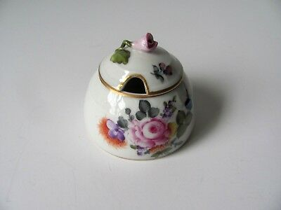 Herend Mustard or Honey Jar Bouquet of Flowers Hand Painted Pink Rose Cover