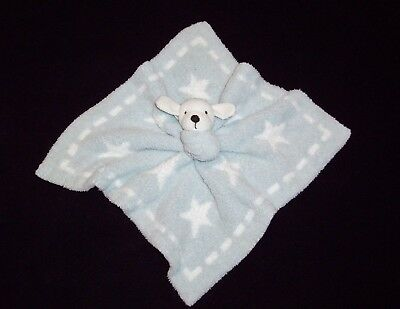 Barefoot Dreams Blue White Stars Puppy Dog Baby Blanket Cozychic Security Lovey