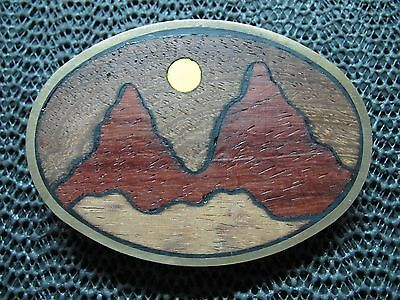 Desert Mountain Sun Scene Belt Buckle! Vintage! Very Rare! Bts! Wood Inlaid! Usa