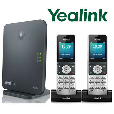 Yealink W60P DECT IP Phone System Base w/ 2 Cordless Handsets W60P + W56H