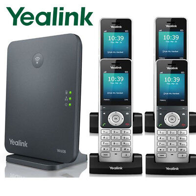 Yealink W60P DECT IP Phone System Base w/ 4 Cordless Handsets W60P + 3 W56H