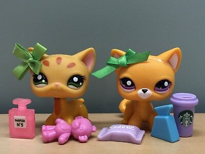 ✨Authentic✨ Littlest Pet Shop Lot Of 2 Rare Orange Shorthair Cats