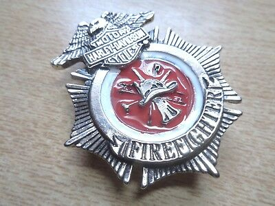 Harley Davidson Firefighter Badge Classic Factory HD Motorcycle Jacket Hat Pin