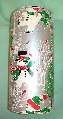 Vintage DEPARTMENT STORE  Christmas Wrapping Paper ROLL Silver Snowman SCENE