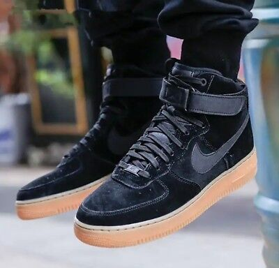 best service de0ca b19a5 NEW NIKE AF1 Air Force 1 High SE Black Suede Leather Trainers Men Women UK  4 4.5