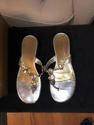 a7c72ce4042f8e ENZO ANGIOLINI SILVER Jewel Flip Flops Size 10 -  26.00