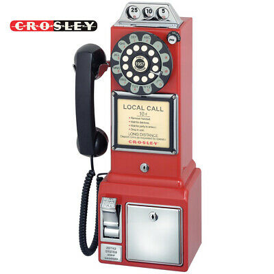 Crosley 1950's CR56-RE Old Fashioned Rotary Style Push Button Payphone - Red