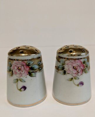 Antique Imperial Nippon Salt & Pepper shakers, Hand painted Gold Gilt