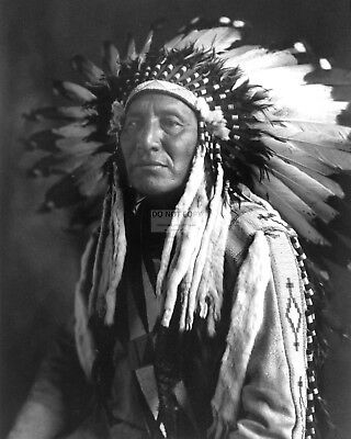 """""""chief In Full Headdress"""" By Roland W. Reed - 8X10 Photo (Ab-040)"""