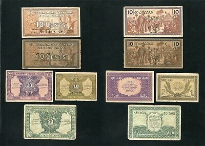 French indochina banknote 10 10 10 20 50 cents , 1939 - 1942 , Lot of 5 Note