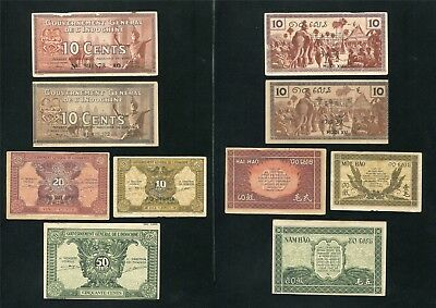 French indo china banknote 10 10 10 20 50 cents , 1939 - 1942 , Lot of 5 Note