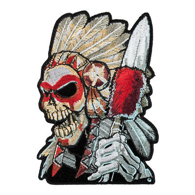 Native American Warrior Skull Patch, Indian Chief Patches