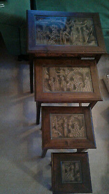 Vintage Chinese Hand Carved glass covered 4-Stack Nesting Wood Tables . PICK UP