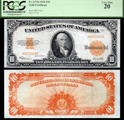 1922 $10 Fr. 1173A Gold Certificate PCGS VF20 BRIGHT!