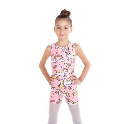 Kids Girls Gymnastics Ballet Leotard Dancewear Jumpsuit Pink Unicorn Dance 2-10T