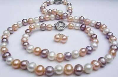 Beautiful natural 7-8mm multicolor freshwater pearl necklace bracelet earrings