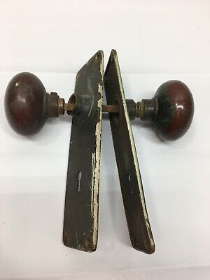 Antique Vintage Heavy Brass Door Knobs and Yale Back Plates Hardware Original