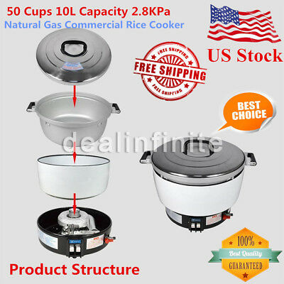 New Natural Gas Commercial Rice Cooker 50 Cups 10L Capacity 2.8KPa US Shipping