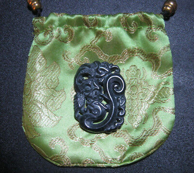 Black Green Natural Hetian Jade Hollow Out Dragon Phoenix Carving w/Bag