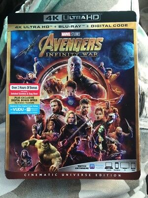 Avengers Infinity War 4K Ultra HD/Blu-ray/No Digital, Discs New - Free Shipping