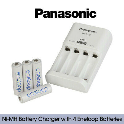 Panasonic Ni-MH Battery AA AAA Charger with 4 Eneloop Batteries lightweight