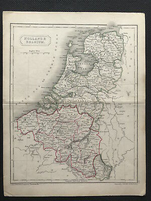 Antique Map HOLLAND & BELGIUM c1834 by S. Hall, original engraved, outline color
